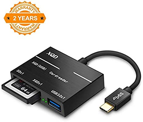 Abaven XQD Type C SD Card Reader, XQD USB C Adapter with XQD Card Slot x1, USB 3.0 x 1, SD Card Slot x 1 for Sony G Series Lexar XQD Cards MacBook, ...