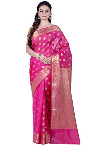 (Chandrakala Women's Pink Cotton Silk Blend Banarasi Saree,Free Size(9455) )