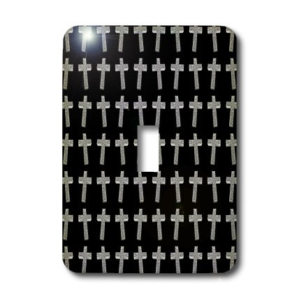 3dRose lsp_38574_1 Page Of Crosses Three Dimensional Etched Metallic Christian Crosses Fill The Page Single Toggle Switch by 3dRose