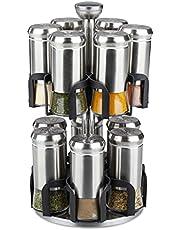 Relaxdays Kryddkarusell, 12 kryddburkar, rostfritt stål och glas, vridbar, kryddhylla diskmaskinssäker, silver/svart