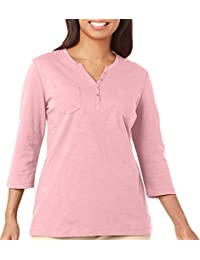 Petite Solid Henley Double Chest Pocket Top