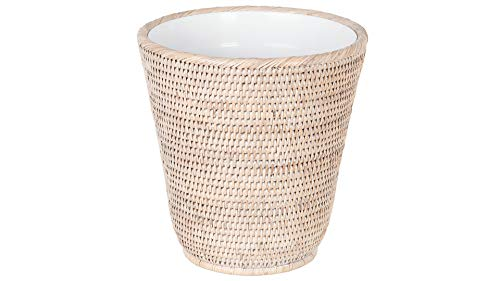 Kouboo La Jolla Rattan Plastic Insert, White-Wash Waste Basket