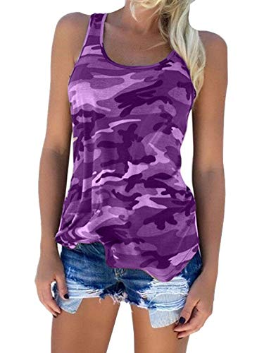 Zcavy Women's Activewear Tops Juniors Camouflage Print Cotton T Shirt Cute Yoga Tops Stretchy Tee Top Summer Fast Dry Racerback Tanks Tops Purple S
