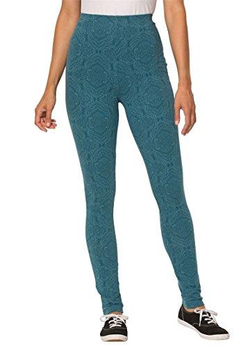 Women's Plus Size Petite Print Leggings Oasis Lace Medallion,1X