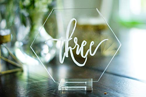 Set of 10 Large Clear Acrylic Hexagon Table Numbers Blank Wedding Shower DIY Glass Modern Sign ...]()