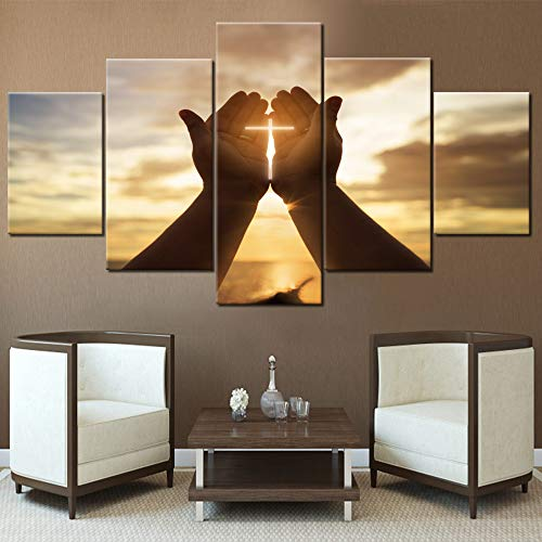 (TUMOVO Wall Crosses Decor Jesus Hands Prayer Paintings Wall Art Panels Large for Living Room Christian Pictures 5 Piece Canvas Modern Artwork Home Decorations Giclee Framed Ready to Hang(60''Wx32''H))