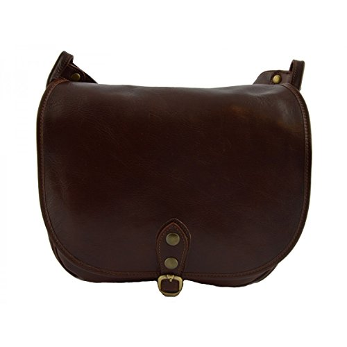 Borsa Donna A Tracolla Colore Marrone - Pelletteria Toscana Made In Italy - Borsa Donna