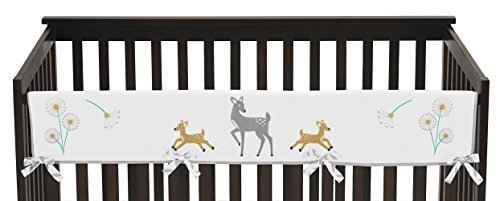 Sweet Jojo Designs Grey Gold and White Forest Deer and Dandelion Long Front Rail Guard Baby Teething Cover Crib Protector Wrap by Sweet Jojo Designs