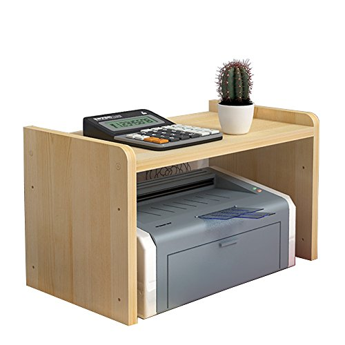 YUMU Desk Solid Wooden Printer Shelf Stand Riser with Storage for Office and Home 17.7''L 11.8''W 13''H CY1030-01(Beige)