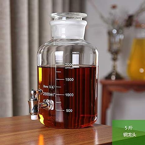 5 kg 10 kg vino espumoso botella de vidrio botella de vidrio jarra sellada botella de vino con enzimas principales que elabora cerveza jarra de vino de ciruela verde,5 kg+mejora No. 1 grifo