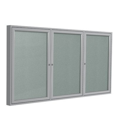 3 Door Outdoor Enclosed Bulletin Board Size: 3' H x 6' W, Frame Finish: Satin, Surface Color: Silver