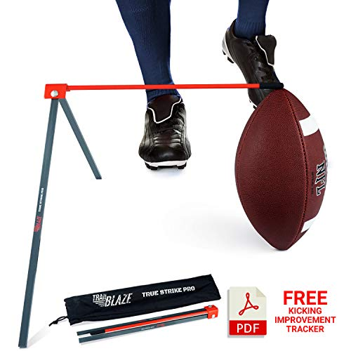 True Strike Pro Football Kicking Tee - Premium Quality Field Goal Kicking Holder Compatible with All Ball Sizes - Super Strong and Portable with Bonus Kicking Improvement Tracker