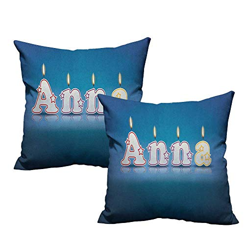- RuppertTextile Living Room Sofa Hug Pillowcase Anna Birthday Candles with Little Stars in Shape of Letters Newborn Girls Name Machine Washable W14 xL14 2 pcs