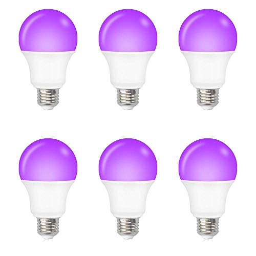 AFSEMOS 12W Black Light Bulbs- E26 Medium Base Blacklight Bulb- LED Black Lights for Glow in The Dark Party,Body Painting,Fluorescent Poster(6Pack)