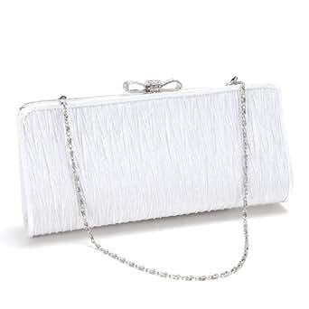 Anladia@ Cartera de mano Bolso clutch de Fiesta para Mujer con cadena 120cm Color Blanco