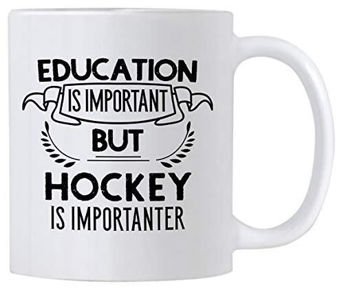 (Funny Education Is Important But Hockey Is Importanter 11 oz Coffee Mug. Gift Idea For Players or Sports Fan.)