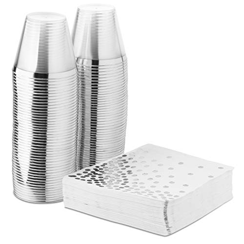 - Elegant Silver Rimmed 9 Ounce Clear Plastic Tumblers and Silver Dot Cocktail Napkins - 50 Fancy Disposable Napkins and 50 Silver Cups for Holiday Party, Wedding, Every Occasion (100 Pack)