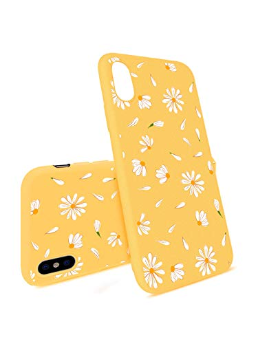 - JOYLAND Daisy Case for iPhone Xs Bumper Flower Floral Case Slim fit Flexible Matt Case Cover Yellow Skin Anti-Scratch Shockproof Shell Compatible for iPhone X/iPhone Xs