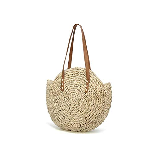 traw Large Bag Woven Shoulder Bag Wallet Ladies Handbag Round Beach Purse Retro Handle Bag (Beige1)