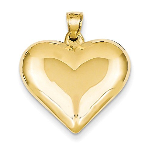 (CKL International 14k Yellow Gold Puffy Heart 3D Hollow Pendant Charm)