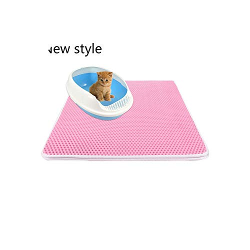 Pets Cats Litter Mat Bed House Floor Portable Double Layer EVA Leather Waterproof Bottom Trapper Home Mat Wearable Cat Products, Pink,L