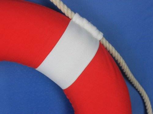Hampton Nautical Decorative Vibrant Red Lifering with White Bands, 15 inches