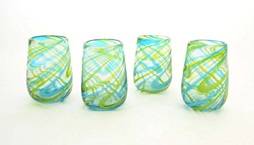 Set of 4, Aqua and Lime Swirl Stemless Wine Glass-16 oz. Handmade Mexico (Pottery Barn Wine)