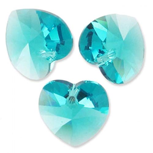 (20pcs Top Quality 10mm Heart Crystal Beads March Aqua Blue Birthstone Charms Top Drill for Jewelry Craft Making CCH-3 )