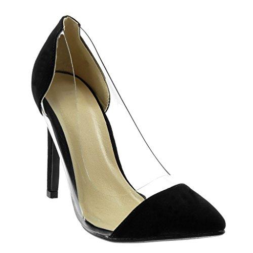 on Decollete Tacón Escarpín 10 Negro Zapatillas Tacón Transparente 5 Alto Mujer cm Aguja Moda Stiletto Angkorly de Slip EtwqpnXYY