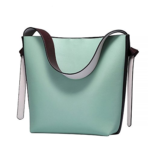 (S-ZONE Women's Color Blocking Leather Tote Shoulder Bag Handbags Hot (Light green-Black) )