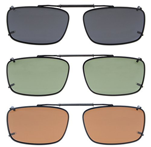Eyekepper Grey/Brown/G15 Lens 3-pack Clip-on Polarized Sunglasses 2 1/8