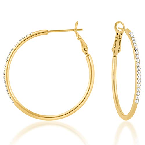 Ed Heart Amelia Large Pave Hoop Earrings with White Clear Round Crystals from Swarovski Gold Plated, One Size