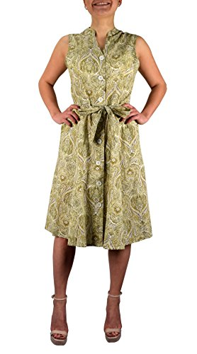 Peach Couture Women's Vintage Retro Button Up Party Shift Dress with Belt