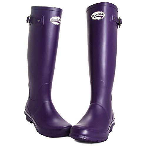 AWARD WINNING BOOTS, knee-high, ladies wellington boots, natural rubber, calendered, cushioned insole, Size 3, FREE DELIVERY Purple Grape