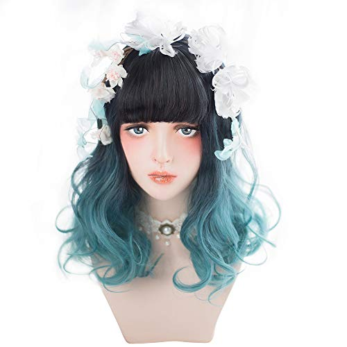 Long Wavy Blue Ombre Wig - Ombre Blue Wig Bangs For Women with Dark Roots, Natural Synthetic Hair Lolita Wig with Wig Cap, Perfect Choice For Cosplay Costume, Halloween, Parties and Daily ()