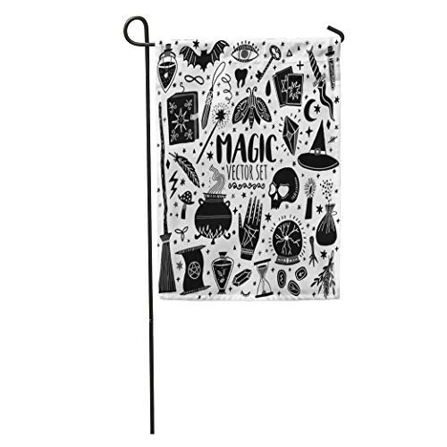 Semtomn Garden Flag Witch Magic Doodle Sketch Magician Witchcraft Symbols Wizard Potion Alchemy Home Yard House Decor Barnner Outdoor Stand 28x40 Inches ()