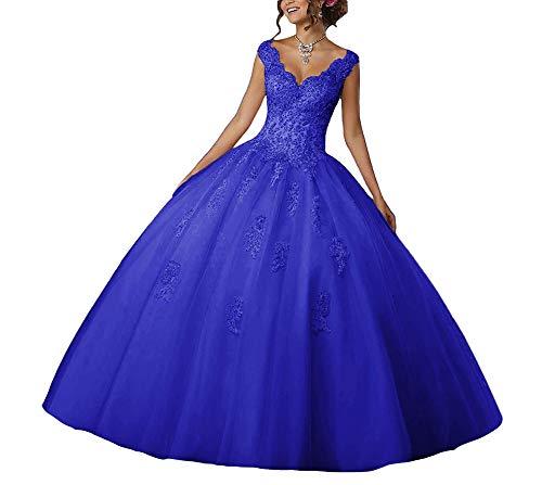 Real Largo Encaje Tul Fiesta Quinceañera De Vestidos Novia V Vestido Azul cuello UYPwW