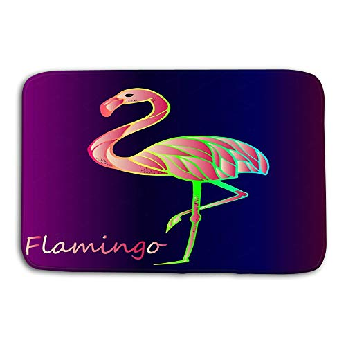Kitchen Floor Bath Entrance Door Mats Rug Bright Pink Flamingo Purple Gradient Background Exotic Rare Bird Beautiful Close up Sketch Exotic Bird Flamingo Non Slip Bathroom Mats 23.6