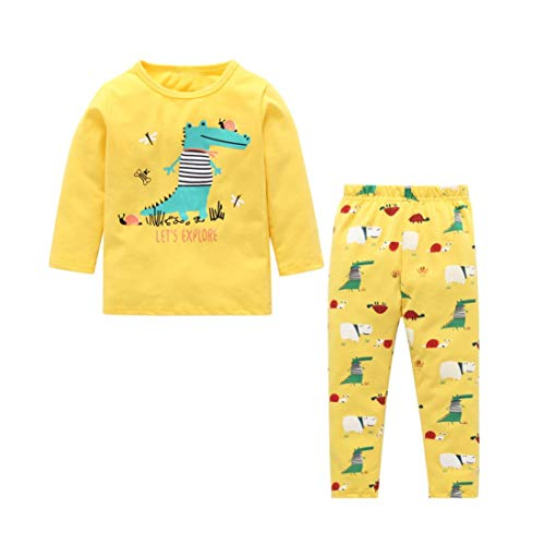 Newborn Kids Baby Boy Girl Dinosaur Pajama Set,Cute Cotton Tops+Pants 2-Piece Home Sleep Wear Outfits 0-4T (Yellow, 3T)