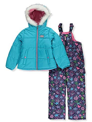 Skechers Girls' Toddler 2-Piece Heavyweight Snowsuit, Scuba Blue, 2T