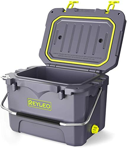 REYLEO Cooler, Rotomolded Cooler 30-Can, 3-Day Ice Retention, 21-Quart, Heavy Duty Ice Chest, Built-in Bottle Opener, Cup Holder, Fishing Ruler, Drain Plug - A21