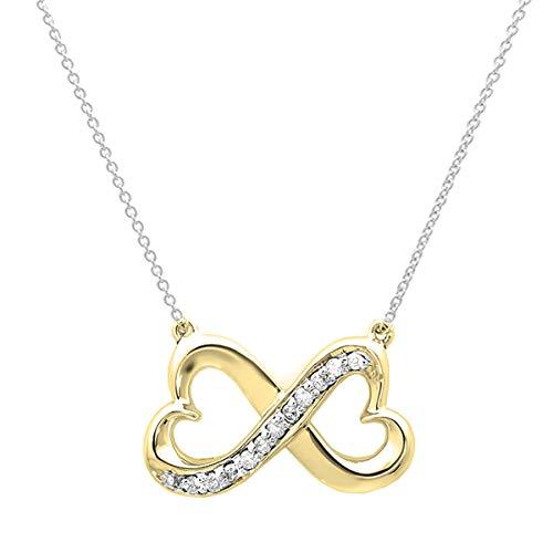 Dazzlingrock Collection 0.10 Carat (ctw) 14K Round Diamond Ladies Double Heart Infinity Pendant 1/10 CT, Yellow Gold ()