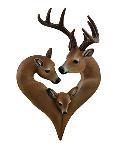 In My Heart of Hearts Decorative Heart Shaped Deer Family Wall Hanging