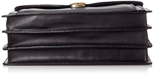 CTM Man Bag Arbeit, 41x31x18cm, 100% echtes Leder Made in Italy Schwarz (Nero)