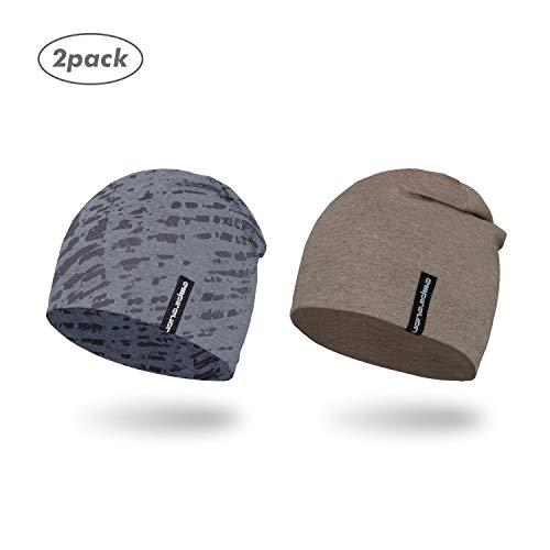 Empirelion Slouch Beanies Knit Hat Thin Running Lightweight Skull Cap for Men Women (Brown Melange+Grey Melange with Print)
