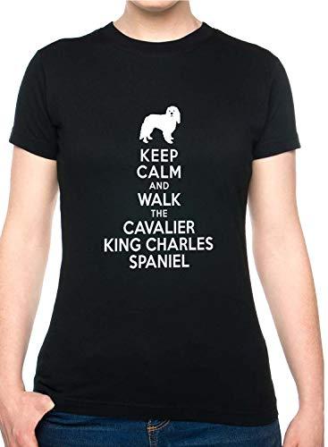 Price comparison product image Print4U Ladies T Shirt Keep Calm Walk Cavalier King Charles Unisex Fit Med Black