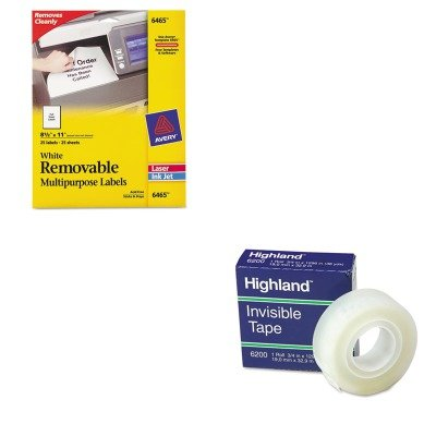 KITAVE6465MMM6200341296 - Value Kit - Avery Removable Inkjet/Laser ID Labels (AVE6465) and Highland Invisible Permanent Mending Tape (MMM6200341296)