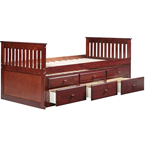 (Longma Captain's Bed Twin Daybed with Trundle Bed and Storage Drawers, (Walnut))