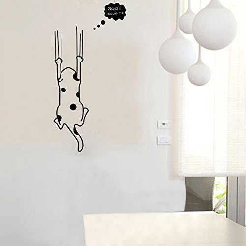 Wall Art - Cartoon Black White Cat Wall Sticker Home Decor Refrigerator Kitchen Cabinet Wallpaper - (Catolico Y Halloween)