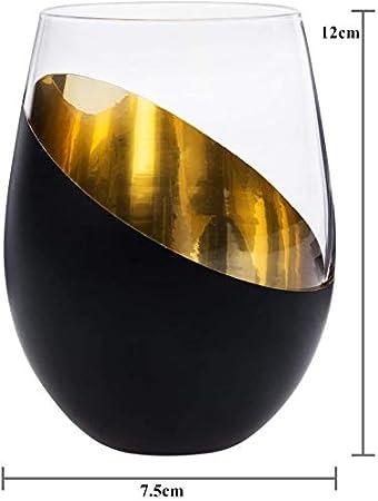 Copas de vino sin tallo con chapado metálico, juego de 4 unidades, color negro